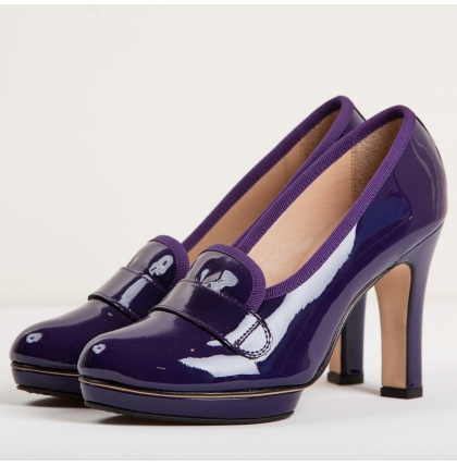Repetto Klein Purple Patent Loafer Pumps